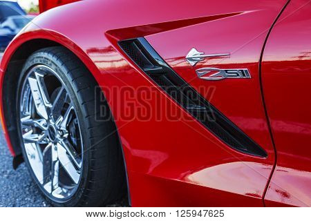 SCOTTSDALE AZ - SEPTEMBER 5: Fender details on a Chevrolet Corvette Stingray September 5 2015 in Scottsdale Arizona
