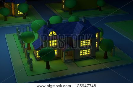 cartoon isometric view on street with house at night. 3D Illustration