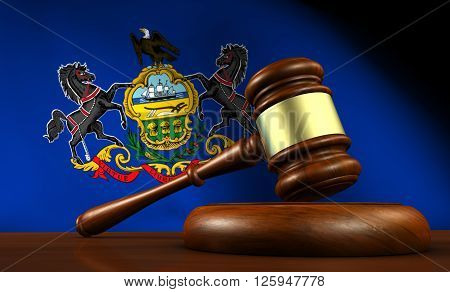 Pennsylvania state laws legal system and justice concept with a 3D rendering of a gavel and the Pennsylvanian flag on background.