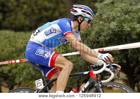 BARCELONA - MARCH, 27: Arnaud Courteille of FDJ rides during the Tour of Catalonia cycling race through the streets of Monjuich mountain in Barcelona on March 27, 2016