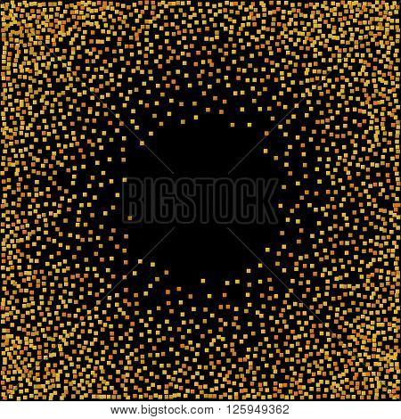 Gold glitter confetti explosion on black background. Vector illustration.