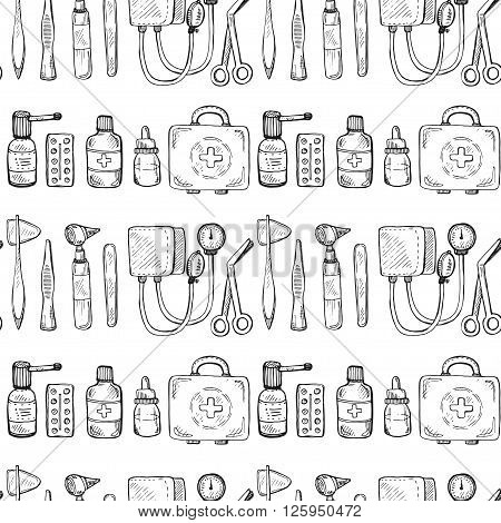 Seamless pattern including equipment medical tools and drugs. Vector hand drawn medical collection