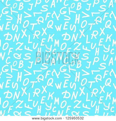 Abstract background of white letters of the alphabet on the basis of a light blue