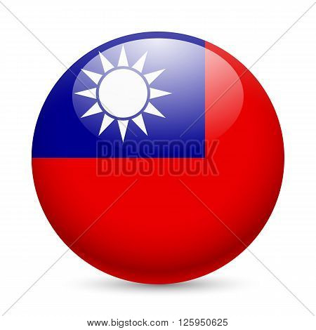 Flag of Taiwan as round glossy icon. Button with flag design