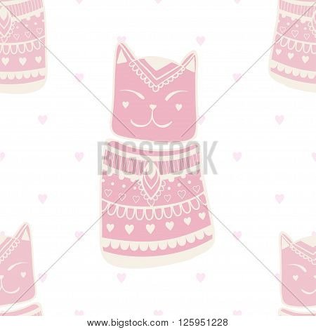 Beautiful patter with cat. Pattern of cats made in vector.Card for design, birthday and other holiday. Cute illustration.