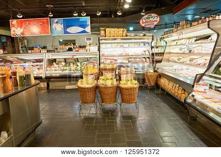 NEW YORK - CIRCA MARCH 2016: inside of Gourmet Garage store. Gourmet Garage is a privately held mini-chain of specialty/natural food markets headquartered in New York City