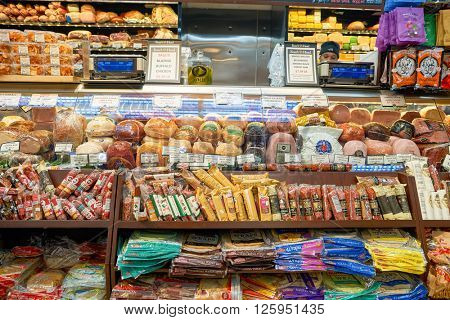 NEW YORK - CIRCA MARCH 2016: inside of West Side Market.  West Side Market is a supermarket at Broadway, New York