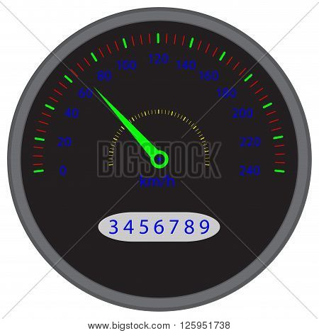 Speedometer dashboard device. Speed and speedometer icon speedometer vector and dashboard device panel indicator for speed auto. Vector flat design illustration