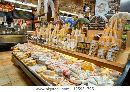 NEW YORK - CIRCA MARCH 2016:  interior of West Side Market.  West Side Market is a supermarket at Broadway, New York