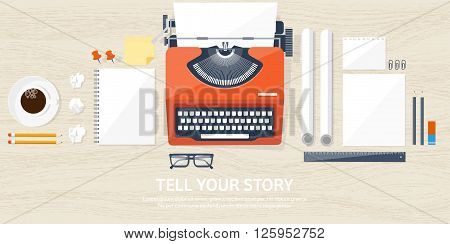 Vector illustration.  Flat typewriter. Tell your story. Author. Blogging. Wood background.