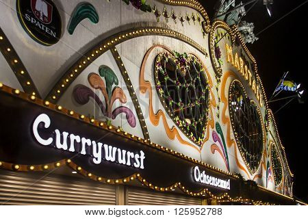 MUNICH, GERMANY - SEPTEMBER 18: Nightshot of the Marstall tent on the Theresienwiese in Munich during Oktoberfest