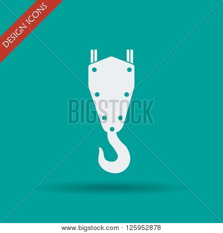 crane hook vector icon. Flat design style.