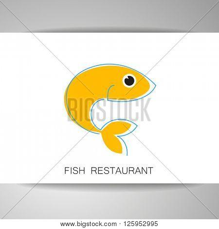 Fish restaurant logo template. Template for branding identity, fish restaurant, menu card, invitations, seafood restaurant, restaurant menu. Vector illustration.