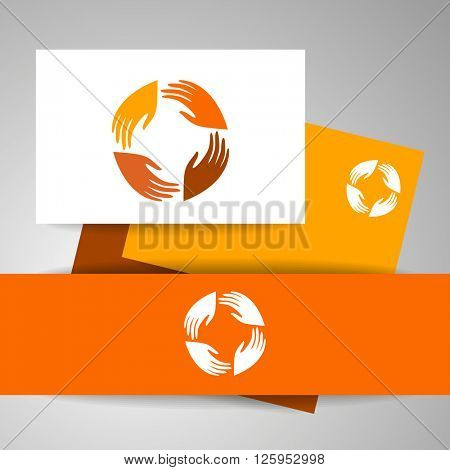 International community. Identity template. People connect sign. Business identity. Vector illustration.
