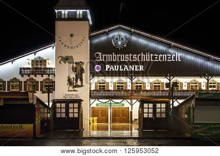 MUNICH, GERMANY - SEPTEMBER 18, 2015: Nightshot of the Armbrustschuetzenzelt on Theresienwiese during Oktoberfest