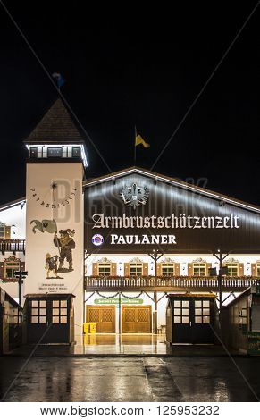 MUNICH, GERMANY - SEPTEMBER 18: Nightshot of the Armbrustschuetzenzelt on Theresienwiese during Oktoberfest