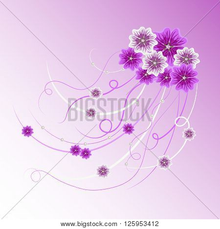 Arrangement of violet and white mallow flowers and ribbons with pearls  for greeting card or invitation design. Floral vector background.
