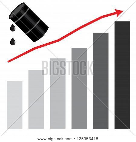 Rising oil price graph chart. Fuel price market and industry gasoline oil energy barrel and money growth petroleum rise. Vector flat design illustration