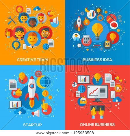 Flat Design Vector Illustration Concepts of Business Processes. Creative Team, Innovation Idea, Startup Launch, Online Marketing.