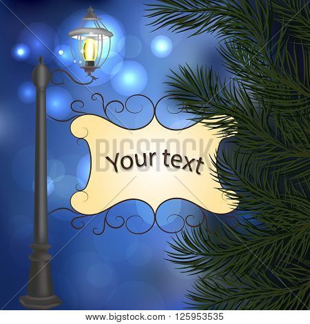 Evening landscape with vintage lamppost, pine branches and frame for your text.