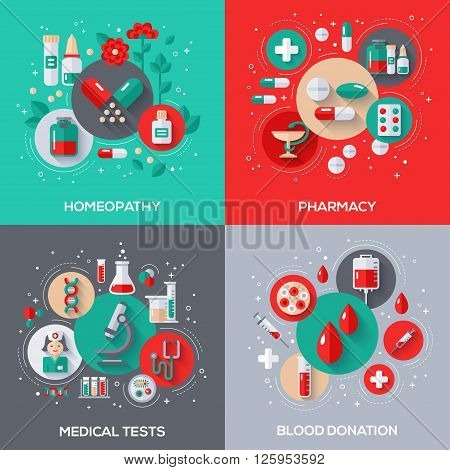 Flat Design Vector Illustration Concepts of Healthcare and Medicine. Herbal Treatment, Homeopathy. Pharmacy, Drugs and Pills. Medical Tests. Blood Donation.