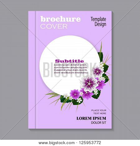 Modern vector template for brochure cover in A4 size. Corner composition of mallows, white flowers, green leaves and herbs. White round banner with place for your text on violet background.