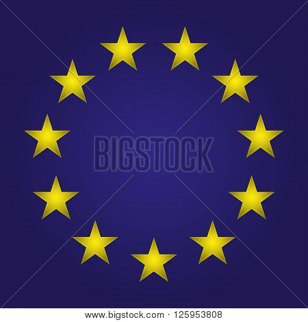 EU flag. Stars on a blue background. Vector illustration
