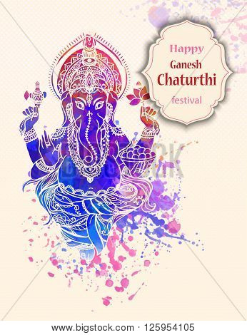 Ornament beautiful card with God Ganesha. Illustration of Happy Ganesh Chaturthi. Ganesh chaturthi festival dedicated to Ganesha. Hinduism in India. Mediation