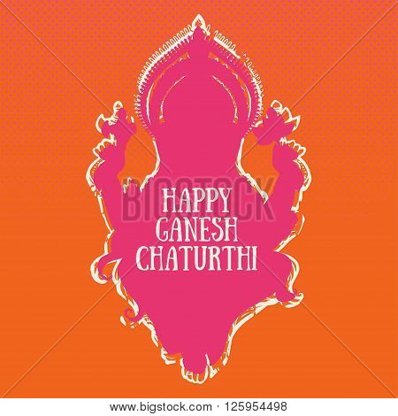 Ornament beautiful card with God Ganesha. Illustration of Happy Ganesh Chaturthi. Ganesh chaturthi festival dedicated to Ganesha. Hinduism in India. Mediation. The god of wisdom and prosperity