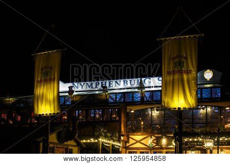 MUNICH, GERMANY - SEPTEMBER 18, 2015: Nightshot of the Kuflers Weinzelt on Theresienwiese