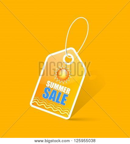 Seasonal summer sale bargain tag with shadow on yellow background