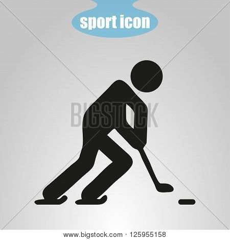 icon of hockey player on a gray background. Vector illustration