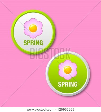 Two green spring icons or badges isolated on pink background