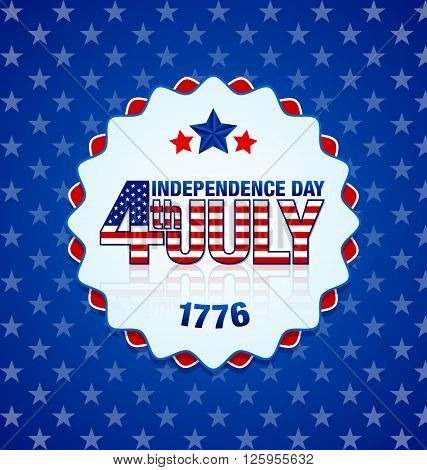 American Independence day badge on starry blue background
