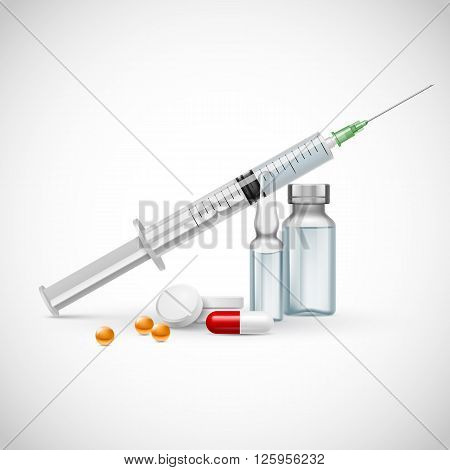 Medical syringe with medicine pill and vials