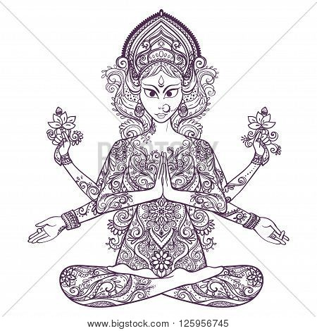 Ornament card with of Maa Durga. Illustration of Happy Navratri. Happy Maha Shivaratri. Navratri Festival 2016 date is falling on 1st October as per Hindu calendar. In Sanskrit means Nine Nights. Yoga