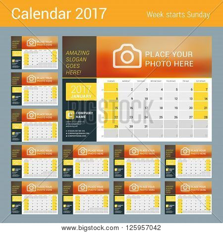 Desk Calendar for 2017 Year. Vector Design Print Template with Place for Photo Logo and Contact Information. Week Starts Sunday. Calendar Grid with Week Numbers and Place for Notes