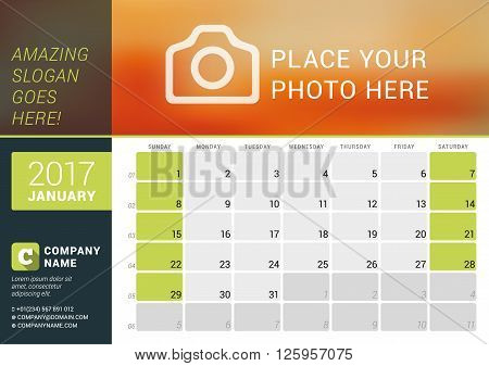 January 2017. Desk Calendar For 2017 Year. Vector Design Print Template With Place For Photo, Logo A
