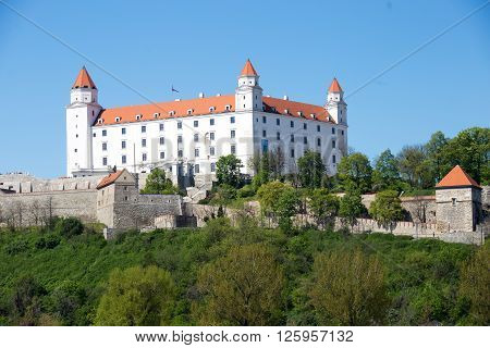 slovakia bratislava castle view symbol donau fortification