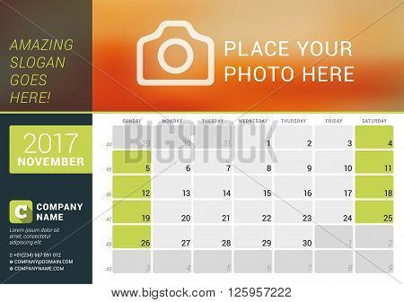 November 2017. Desk Calendar For 2017 Year. Vector Design Print Template With Place For Photo, Logo