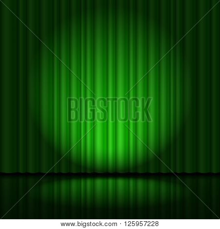 Stage with green curtain and spotlight great heart-shaped