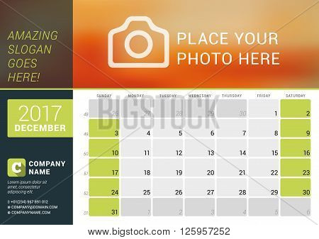 December 2017. Desk Calendar For 2017 Year. Vector Design Print Template With Place For Photo, Logo