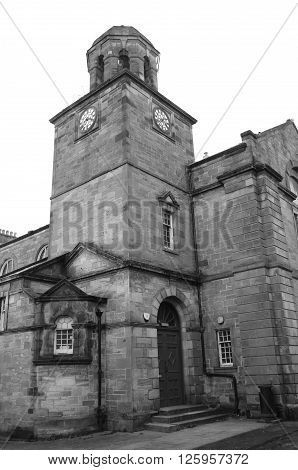A view of a clock tower building in the town of Kirkcaldy