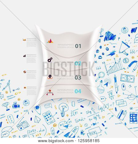 Hand Drawn Style Business Design. Pencil Sketch. Set of application development, web site coding, information and mobile technologies vector icons and elements. Modern collection. Steps and Options.
