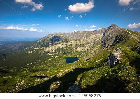 Tatra Mountain Poland view to Valley Gasienicowa Swinica mount and group of glacial lakes