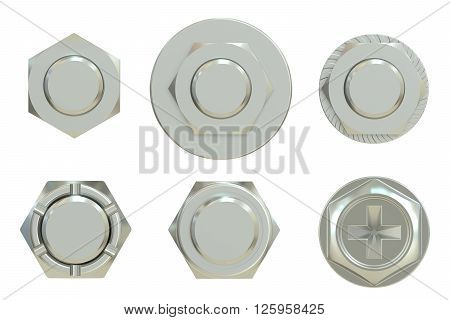 bolt nut and washer 3D rendering isolated on white background