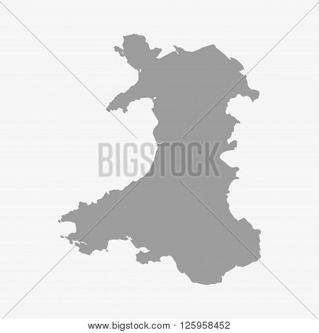 Wales map in gray on a white background
