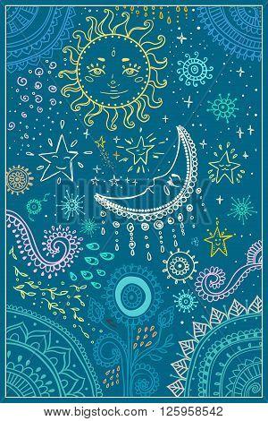 Illustration of the sun and the moon, the stars. Ornamental mandala.