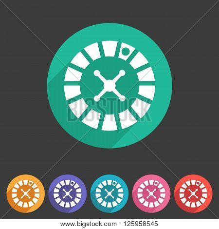 Casino gambling roulette wheel icon flat web sign symbol logo label set