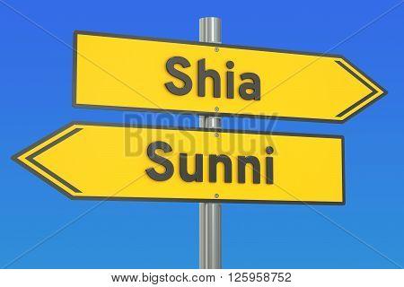 shia vs sunni concept on the signpost 3D rendering